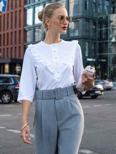 Блузка из софта с оборкой по полочке белая 49512, фото 1