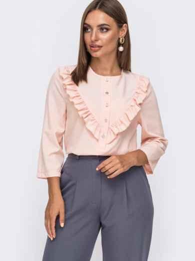 Блузка из софта с оборкой по полочке пудровая 49513, фото 1