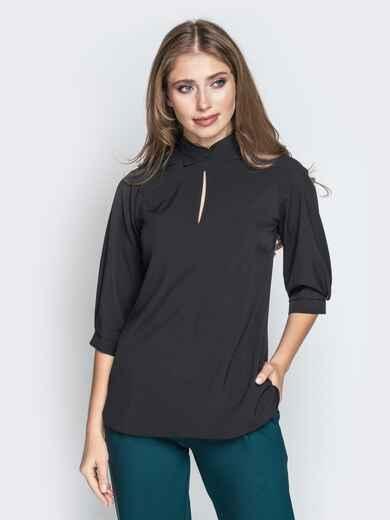 """Чёрная блузка с отложным воротником и вырезом """"капля"""" 20939, фото 1"""