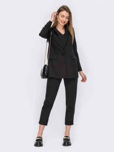 Черный костюм-тройка с пиджаком и блузкой 53798, фото 1