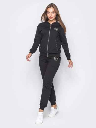 Черный спортивный костюм с декоративной тесьмой на брюках - 12003, фото 2 – интернет-магазин Dressa