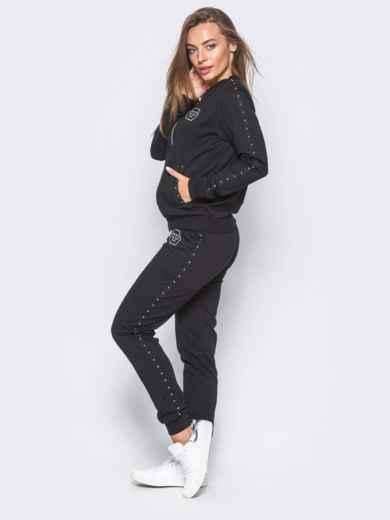 Черный спортивный костюм с декоративной тесьмой на брюках - 12003, фото 3 – интернет-магазин Dressa