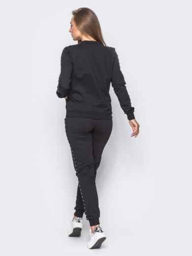 Черный спортивный костюм с декоративной тесьмой на брюках - 12003, фото 4 – интернет-магазин Dressa