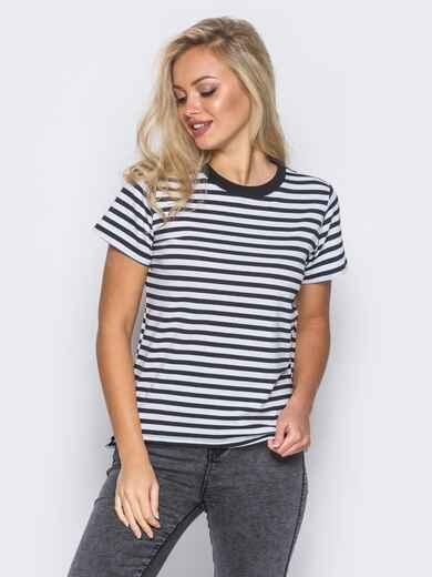 Хлопковая футболка в черную полоску прямого кроя  - 12083, фото 1 – интернет-магазин Dressa