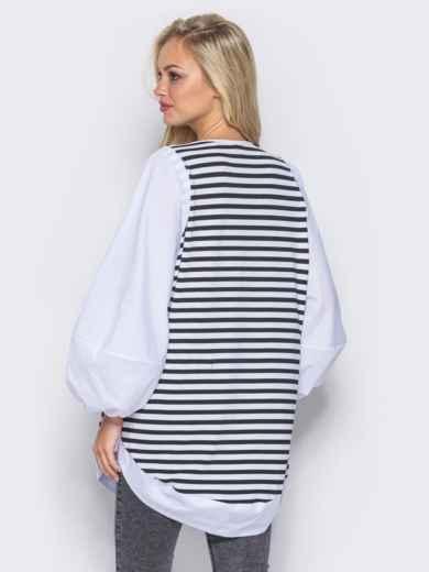 Полосатая туника с пышными рукавами белая - 12058, фото 2 – интернет-магазин Dressa