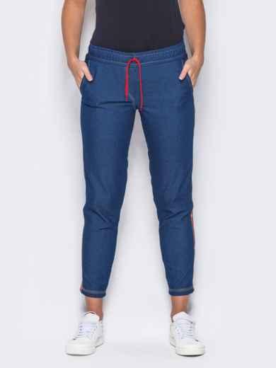 Синие брюки с цветными лампасами - 10334, фото 1 – интернет-магазин Dressa