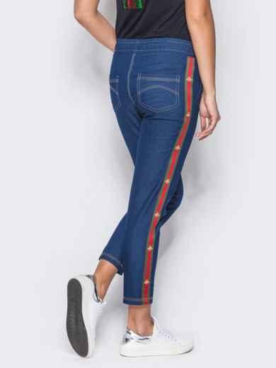 Синие брюки с цветными лампасами - 10334, фото 3 – интернет-магазин Dressa