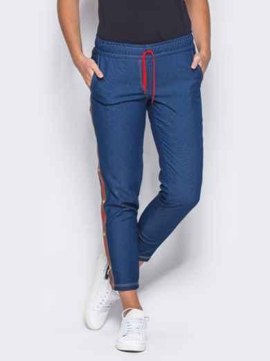 Синие брюки с цветными лампасами - 10334, фото 4 – интернет-магазин Dressa