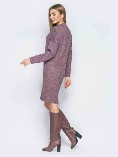Трикотажное платье с функциональными пуговцами на рукавах розовое - 18765, фото 2 – интернет-магазин Dressa