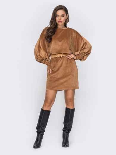 """Вельветовое платье-миди с рукавом """"летучая мышь"""" коричневое 50957, фото 1"""