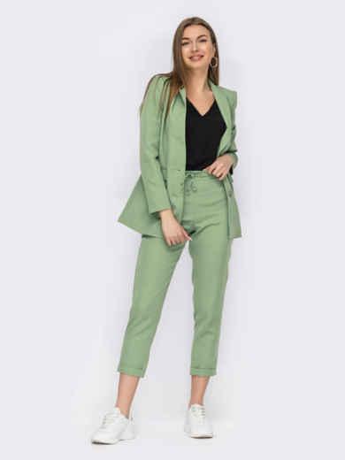 Зеленый костюм-тройка с пиджаком и блузкой 53801, фото 1