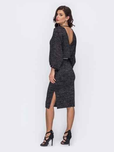 Платье с нитью люрекса и рукавом-колокол черное 52073, фото 1