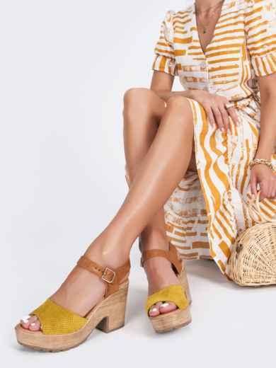 Босоножки из текстиля с перфорацией желтые 45964, фото 1