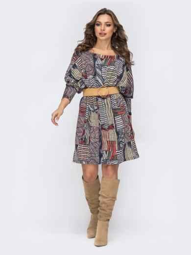 Трикотажное платье с принтом серое 44139, фото 1