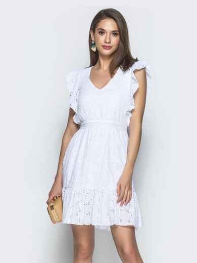 Белое платье из прошвы с воланом по низу и бокам - 38705, фото 1 – интернет-магазин Dressa