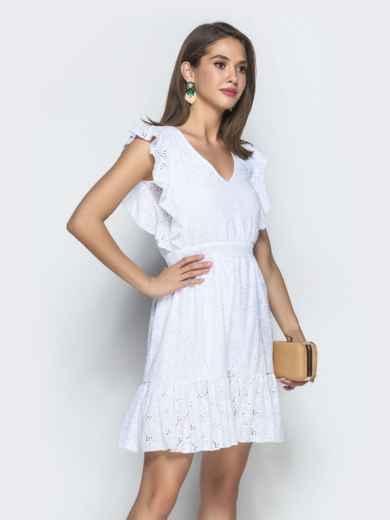 Белое платье из прошвы с воланом по низу и бокам - 38705, фото 2 – интернет-магазин Dressa