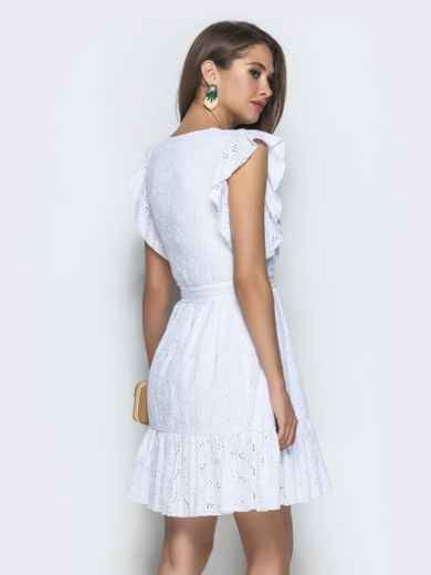 Белое платье из прошвы с воланом по низу и бокам - 38705, фото 3 – интернет-магазин Dressa