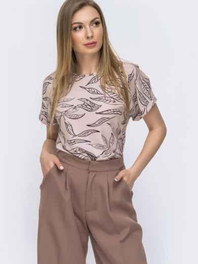 Блузка свободного кроя с принтом пудрового цвета 46901, фото 1