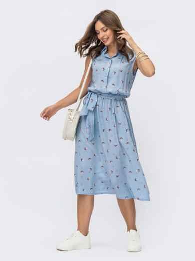 Голубое платье-рубашка в цветочный принт 54253, фото 1
