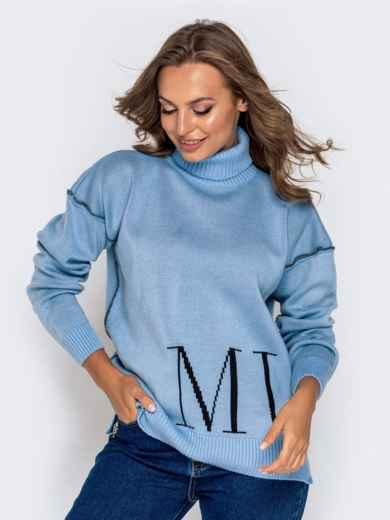 Голубой свитер мелкой вязки с контрастной надписью 41180, фото 1