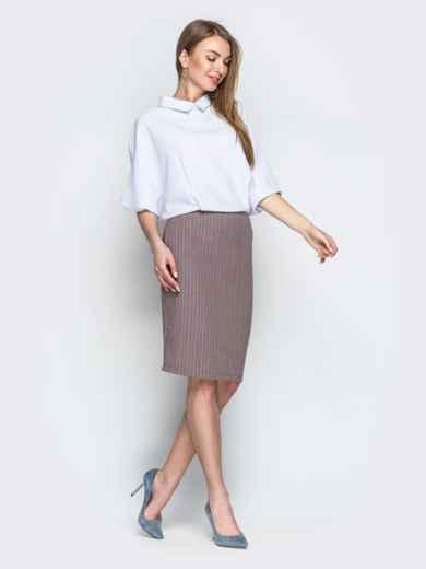 Комбинированное платье с юбкой-карандаш бежевое - 20674, фото 2 – интернет-магазин Dressa