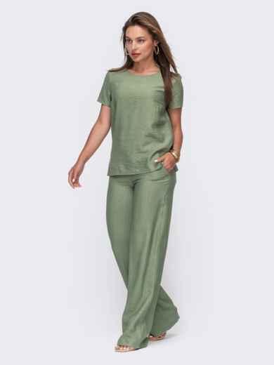 Комплект цвета хаки из прямой блузки и брюк-клеш 49332, фото 1