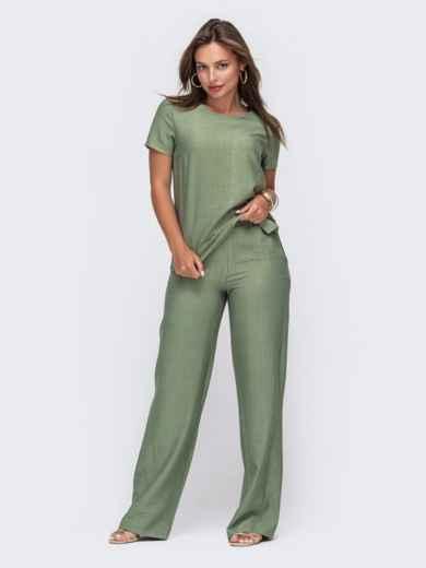 Комплект цвета хаки из прямой блузки и брюк-клеш 49332, фото 2