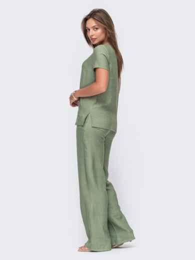 Комплект цвета хаки из прямой блузки и брюк-клеш 49332, фото 3