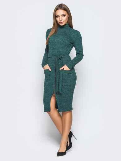 Платье-гольф зелёного цвета с функциональной молнией - 18248, фото 1 – интернет-магазин Dressa