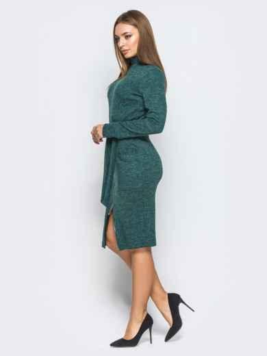 Платье-гольф зелёного цвета с функциональной молнией - 18248, фото 2 – интернет-магазин Dressa