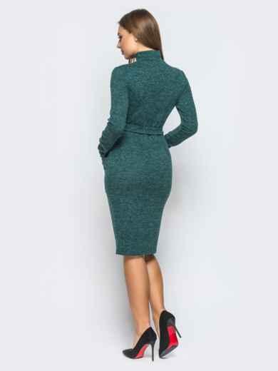 Платье-гольф зелёного цвета с функциональной молнией - 18248, фото 3 – интернет-магазин Dressa