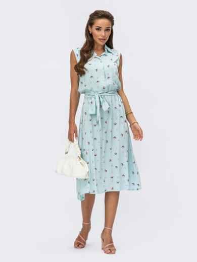 Платье-рубашка мятного цвета в цветочный принт 54252, фото 1