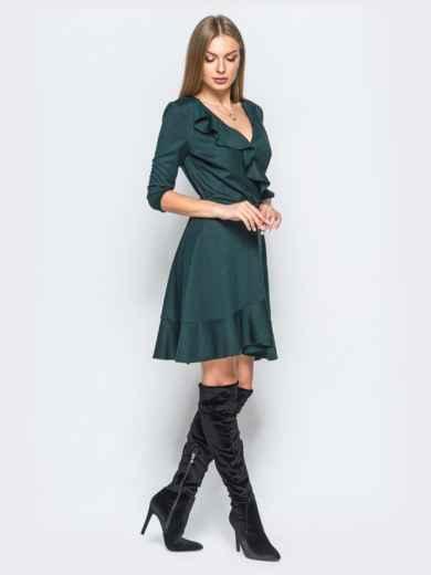 Платье зелёного цвета с запахом и рюшами на нем - 17337, фото 2 – интернет-магазин Dressa