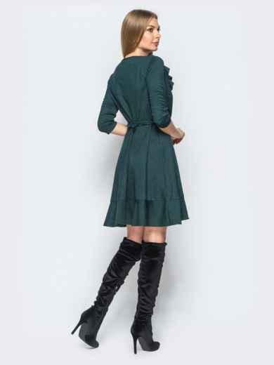 Платье зелёного цвета с запахом и рюшами на нем - 17337, фото 3 – интернет-магазин Dressa