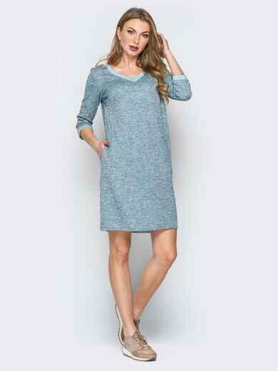 Серо-голубое платье с широким V-вырезом и карманами - 19929, фото 1 – интернет-магазин Dressa