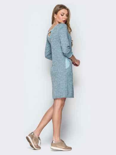 Серо-голубое платье с широким V-вырезом и карманами - 19929, фото 3 – интернет-магазин Dressa