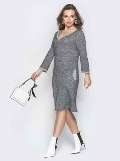 Серое платье с широким V-вырезом и карманами - 19927, фото 2 – интернет-магазин Dressa