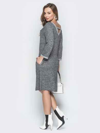 Серое платье с широким V-вырезом и карманами - 19927, фото 3 – интернет-магазин Dressa