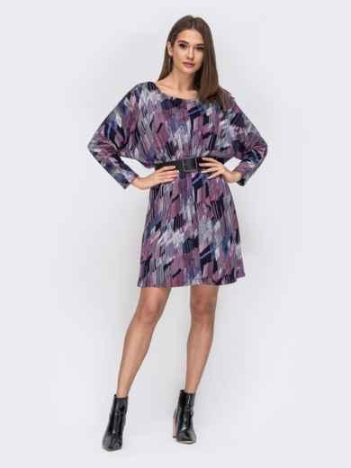 Трикотажное платье с принтом синее 44138, фото 1