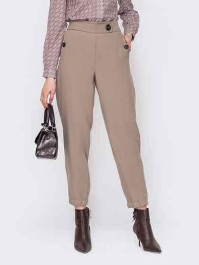 Укороченные бежевые брюки с высокой посадкой 53073, фото 1