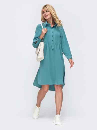 Свободное платье-рубашка с удлиненной спинкой бирюзовое 50190, фото 1