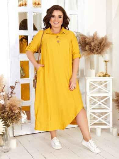 Асимметричное платье батал желтое 47576, фото 1