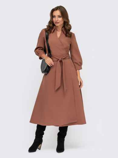 Платье-халат коричневого цвета с отложным воротником 41948, фото 1