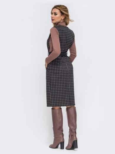 Сарафан с глубоким V-вырезом и поясом в комплекте коричневый 43111, фото 2
