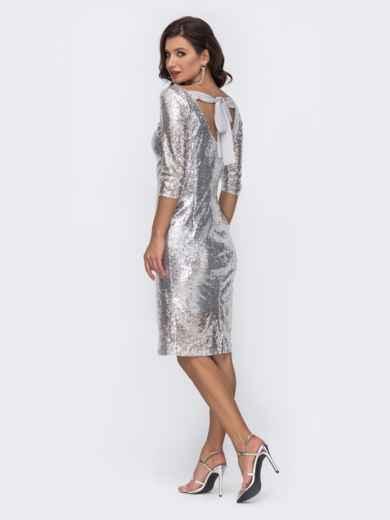 Серое платье-миди с пайетками и вырезом по спинке 52064, фото 1