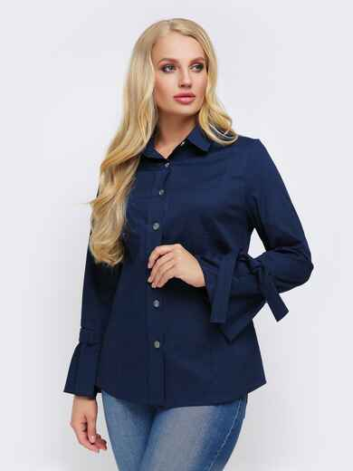 Синяя блузка с рукавом-колокол на завязках - 22307, фото 1 – интернет-магазин Dressa