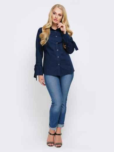 Синяя блузка с рукавом-колокол на завязках - 22307, фото 2 – интернет-магазин Dressa