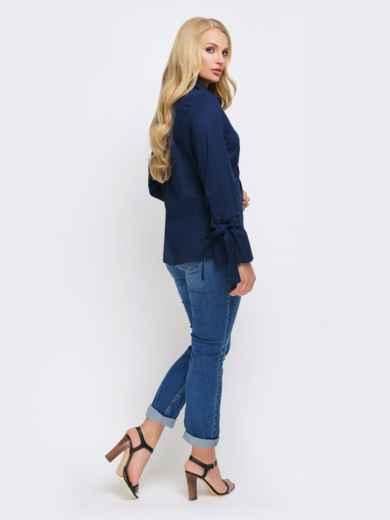 Синяя блузка с рукавом-колокол на завязках - 22307, фото 3 – интернет-магазин Dressa