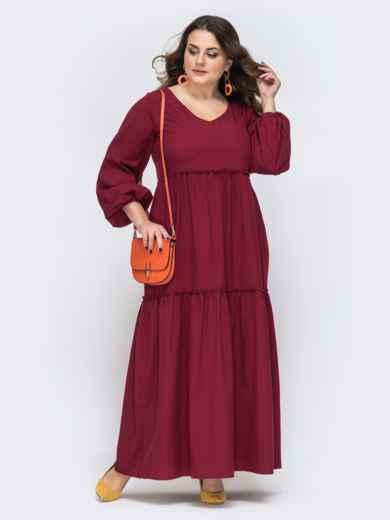 Свободное платье батал в пол бордового цвета 45143, фото 1
