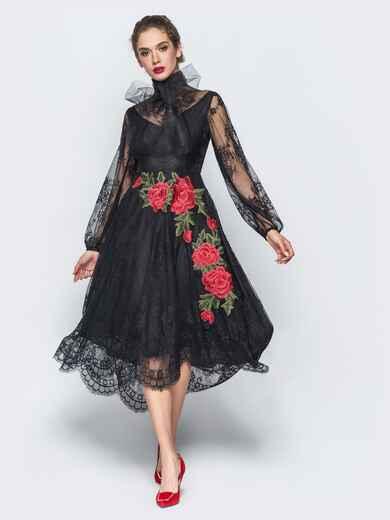 Вечернее кружевное платье черного цвета с вышивкой на юбке - 17895, фото 1 – интернет-магазин Dressa